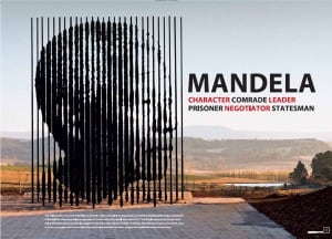 Poster features sculpture on site where the Nobel laureate was arrested in 1962. The bars forming Mandela's portrait represent his 27 years of incarceration.