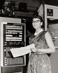 A young Katherine Johnson working at NASA.