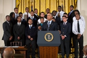"President Barack Obama delivers remarks at an event to highlight ""My Brother's Keeper,"" an initiative to expand opportunity for young men and boys of color, in the East Room of the White House, Feb. 27, 2014. (Official White House Photo: Pete Souza)"
