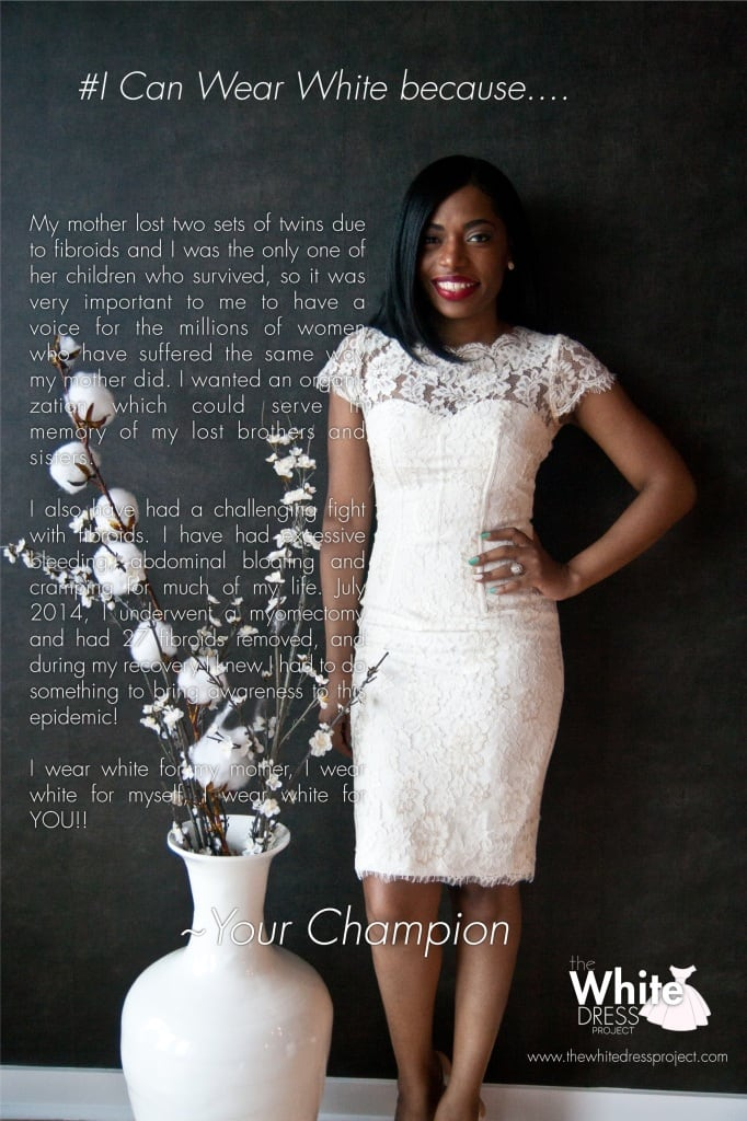 Tanika Gray and her pledge for The White Dress Project.