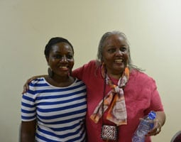 Carol Hector-Harris with her new-found cousin, Sangmorkie Tetteh. (Photo: Catherine McKelvey)