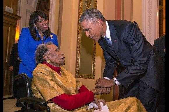 President Obama greets 105-year-old Selma, Ala., activist Amelia Boynton Robinson with U.S. Rep. Terri Sewell, D-Ala. (Official White House Photo)