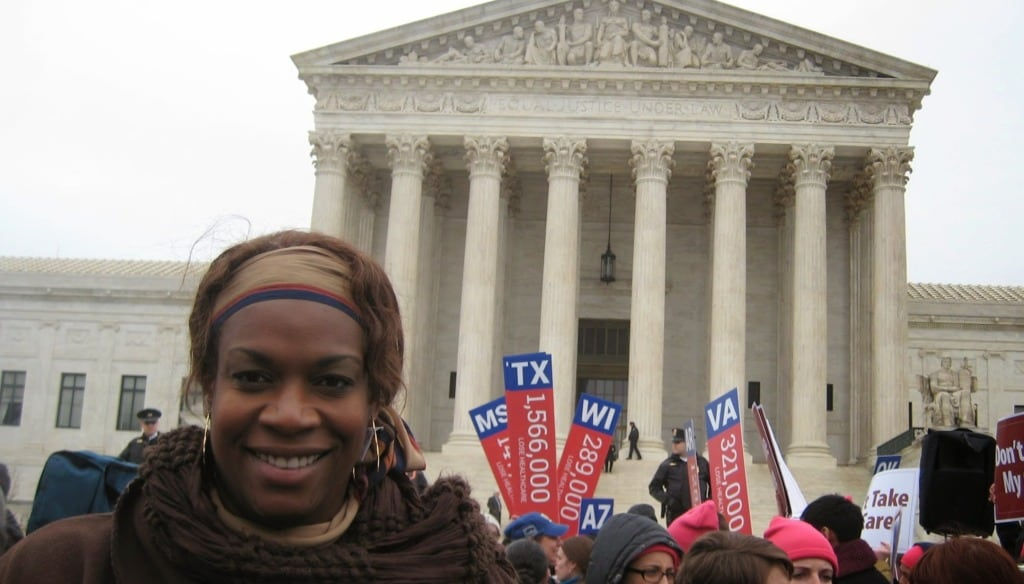 Claudette Newsome traveled from Houston to the U.S. Supreme Court in Washington to show her support for the Affordable Care Act. (Photo: Yanick Rice Lamb/Fierce)