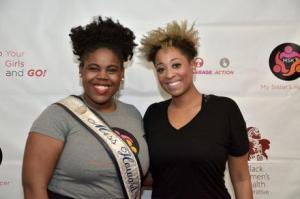 Maria Sankey, the reigning Miss Howard University, with singer Monica Blaire at the D.C. launch of My Sister's Keeper. (Photo: BWHI)