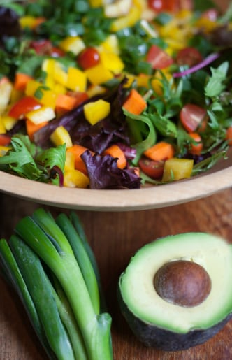 Rainbow Avocado Salad with Lemon Buttermilk Dressing