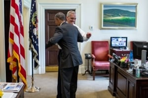President Obama celebrates the Supreme Court ruling on Affordable Care Act subsidies with Chief of Staff Denis McDonough. (White House Photo by Pete Souza)