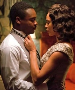 Carmen Ejogo as Coretta Scott King before the Nobel Peace Prize ceremony to honor the Rev. Dr. Martin Luther King Jr., as portrayed by David Oyelowo. (Photo: Paramount Pictures)