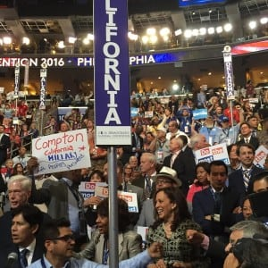 Kamala Harris with the California delegation at the Democratic National Convention in Philadelphia. (Photo: Kamala Harris/Instagram)
