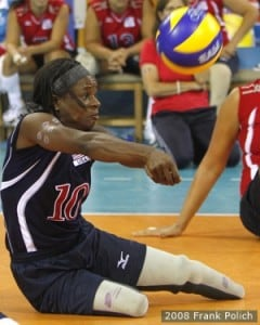 Kari Miller during the Sitting Volleyball finals at the Beijing Paralympics in 2008. (Photo: Frank Polich/U.S. Paralympics)