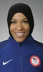 Ibtihaj Muhammad was a close second behind Michael Phelps in a vote by her Olympic peers to bear the U.S. flag during the opening ceremonies in Rio de Janeiro while wearing her hajib. (Photo: U.S. Olympic Committee)