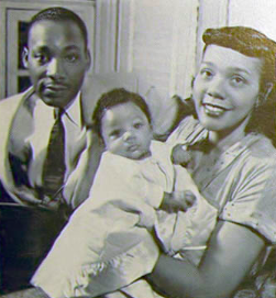 During the 1955 Montgomery Bus Boycott, Coretta Scott King was in her home with 2-year-old Yolanda, when it was firebombed. Martin Luther King was away. (Public domain photo.)